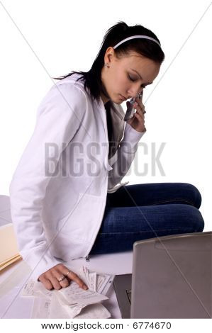 Stressed Teenager Paying Bills