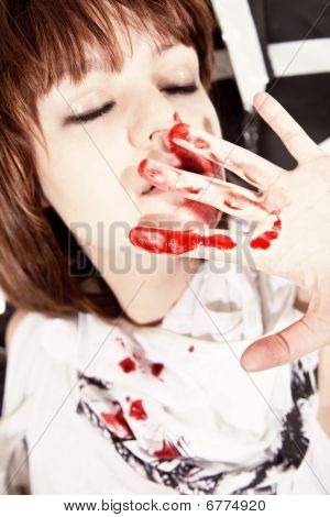 Young Woman With  Bloodstained Face