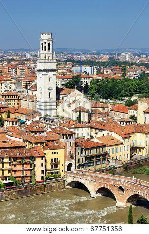 Adige River in Verona, Italy, Europe