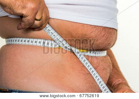 man with overweight. symbolic photo for beer belly, unsuccessful diets and poor diet.