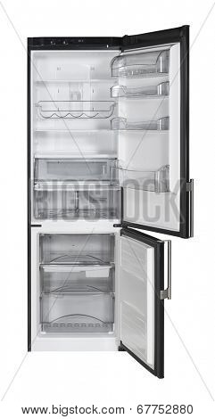 Open two door black refrigerator isolated on white
