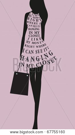Fashion Woman Dress From Words. Vector