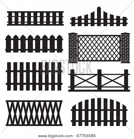 Big set of wooden fence silhouette