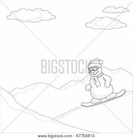 Snowman on a snowboard, contours