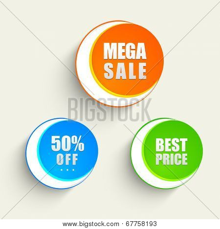 Offer and discount sale tags in orange, blue and green color for the festival of Eid Mubarak.