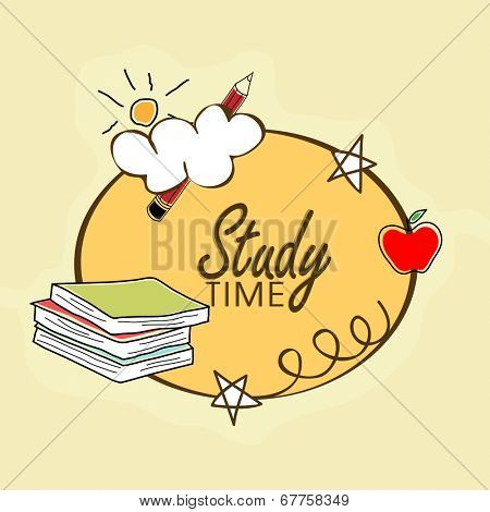Kiddish illustration for study time with books and stationery on yellow background.
