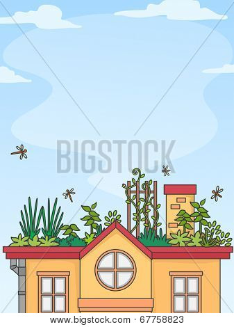 Illustration of a House with a Well-Maintaned Garden on the Rooftop