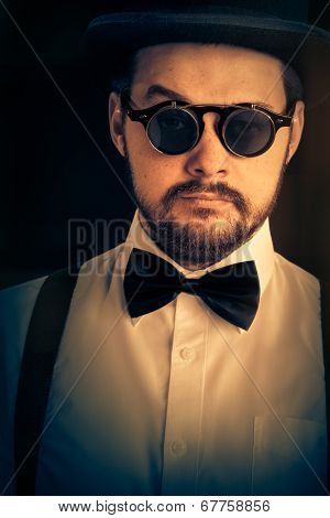 Man with Top Hat  Glasses Retro Portrait