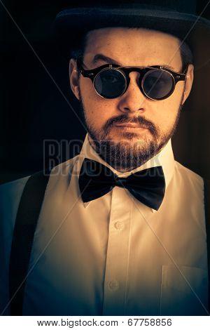 Man with Top Hat  Glasses Retro Portrait