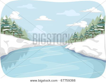 Illustration Featuring a Frozen River