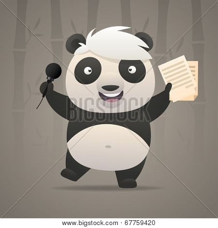 Cheerful panda sings songs and dances