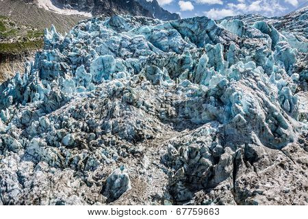 Argentiere Glacier In Chamonix Alps, Mont Blanc Massif, France.