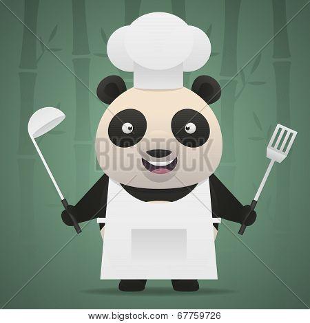 Panda chef holds soup ladle and shovel