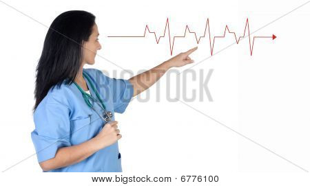 Attractive Doctor Woman Pointing To A Electrocardiogram
