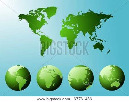 World Map Represents Abstract Worldwide And Continents