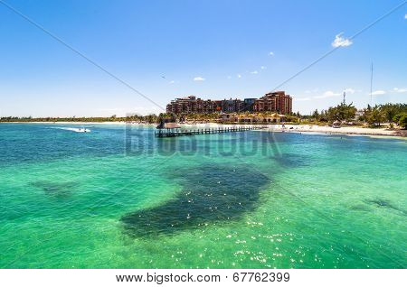 coastline view from sea in Cancun, Mexico