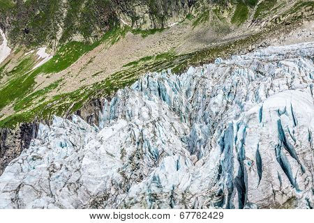 View On Argentiere Glacier. Hiking To Argentiere Glacier With The View On The Massif Des Aiguilles R