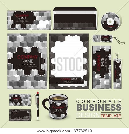 Business Corporate Identity Template With Grayscale Blocks