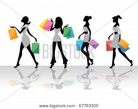 Shopping Women Shows Retail Sales And Adult