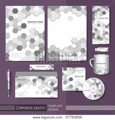 Corporate Identity Template With Gray Honeycomb Elements.