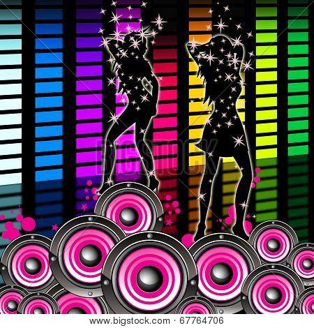 Dancing Equaliser Means Sound Track And Equalisers