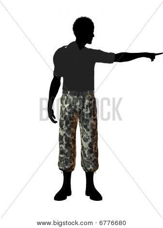 Silhueta de ilustração de soldado americano Africano