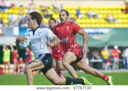 MOSCOW, RUSSIA - JUNE 29, 2014: Quarter final match between Wales (red uniform) and Portugal during the FIRA-AER European Grand Prix Series. Portugal won 28-7