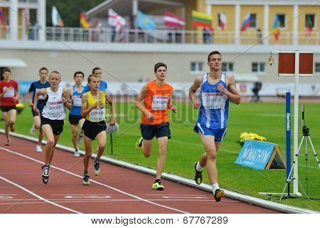 ZHUKOVSKY, MOSCOW REGION, RUSSIA - JUNE 27, 2014: Athletes in the men 2000 meters during Znamensky Memorial. The competitions is one of the European Athletics Outdoor Classic Meetings