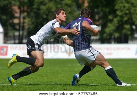 MOSCOW, RUSSIA - JUNE 29, 2014: Semifinal cup match between Scotland and Portugal during the FIRA-AER European Grand Prix Series. Portugal won 10-5