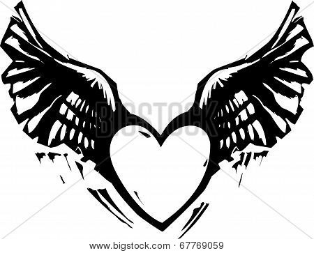 Winged Heart Black White