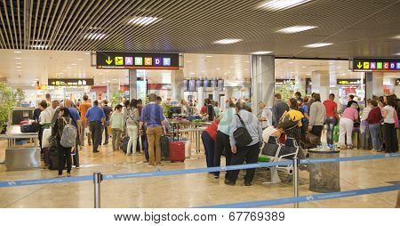 MADRID, SPAIN - MAY 28, 2014: Interior of Madrid airport, departure waiting aria