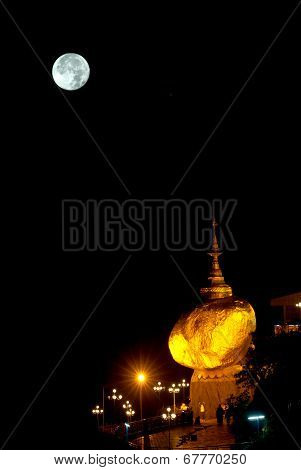 Night Scene Kyaikhtiyo Pagoda In Full Moon Night.