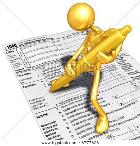 Gold Guy Filling Out Tax Form With Gold Pen