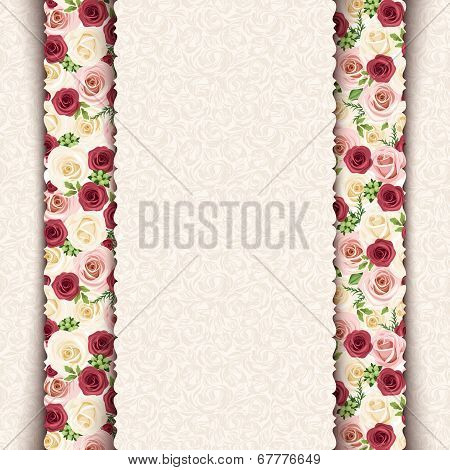Vintage beige invitation card with roses pattern. Vector eps-10.