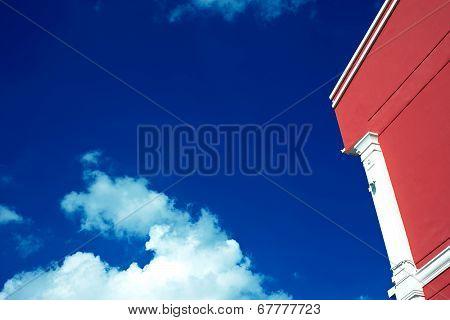 Red Building blue sky