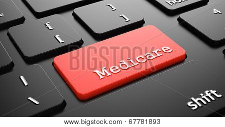 Medicare on Red Keyboard Button.