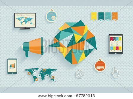 Set vector icon of megaphone with bubble speech
