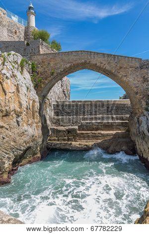 Stone bridge in Castro Urdiales, Cantabria, Spain