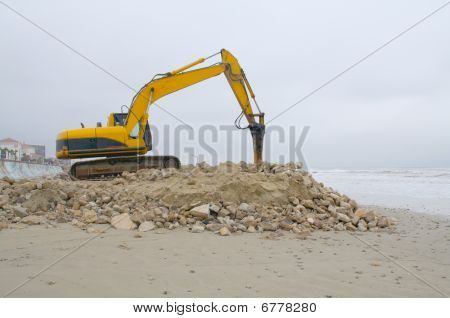 Contstruction Equipment On Beach