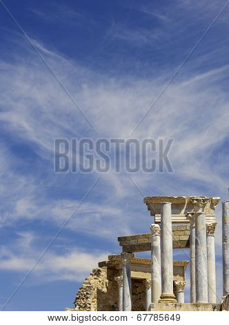 Roman theater in Merida, the theater,Badajoz, Extremadura, Spain