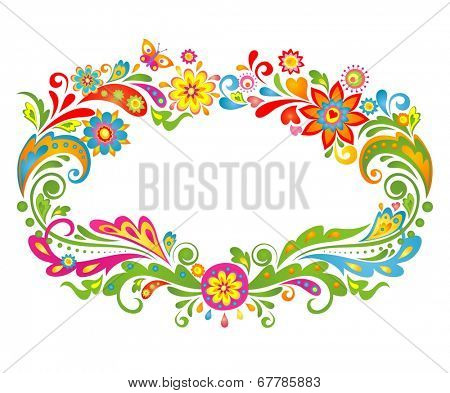 Summery colorful floral frame