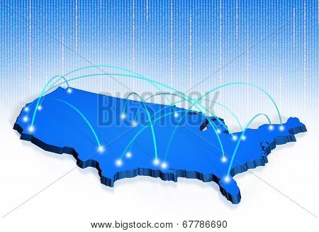 American connections map for internet, transport, and calling network concepts