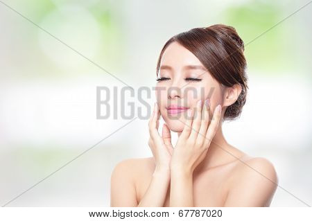 Woman Face Relax Closed Eyes