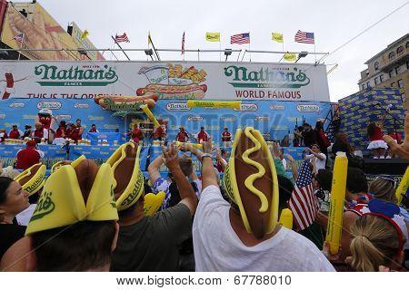 Spectators in hotdog hats