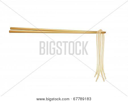 Wooden chopsticks holding noodles