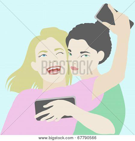 Two Best Friends Making Selfie On Smartphone Illustration