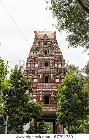 Gigantic Hindu temple tower or Gopuram or Vimana of Kaadu Mallikaarjuna Swamy