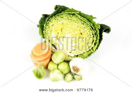 Half A Cabbage With Garlic And Sprouts