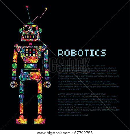 Colourful robot warrior cyborg. Vector EPS 10
