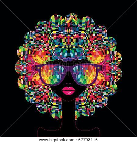 Beautiful fashionable woman with abstract elements
